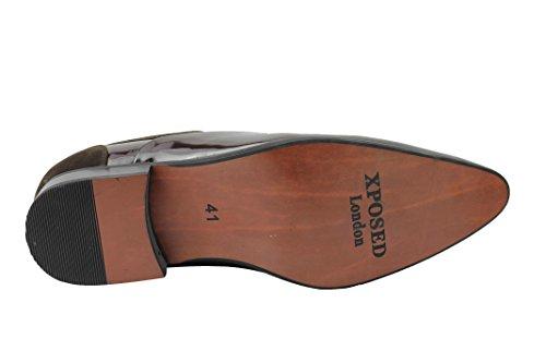 Brown Basse Patent uomo Stringate Xposed Scarpe qBpRPP