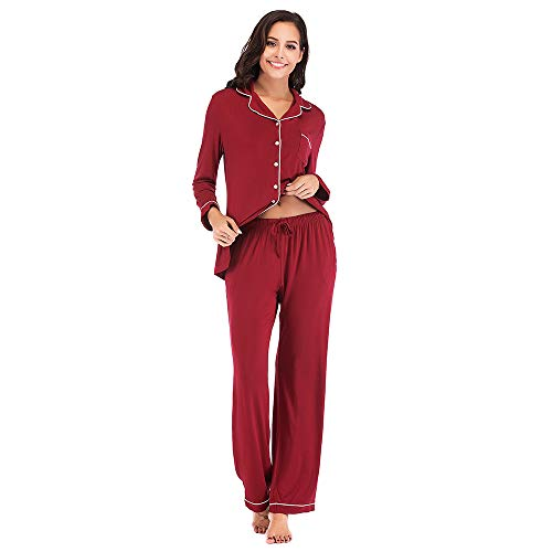Pajamas Womens Red (FerDIM Long Sleeve Pj Set, Casual Sleepwear for Women Petite Pajama Ladies Boyfriend Pajamas Wine Red L)