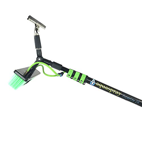 30 ft Water Fed Pole, Window & Solar Panel Cleaning Tool with Brush & Squeegee AquaSpray by EquipMaxx (Best Water Fed Pole System)