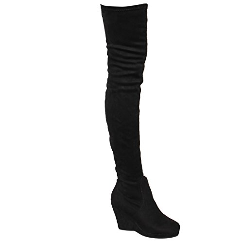 Image of BESTON EJ07 Women's Stretchy Snug Fit Thigh High Platform Wedge Heel Boots