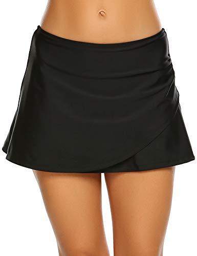 Sheshow Women Bikini Skirt Solid Color Swimsuit Bottom Mid Waist Pleated Swim Skort Black L