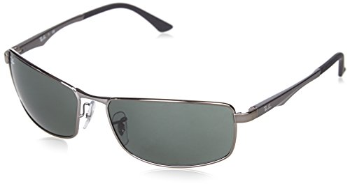 Ray-Ban 0RB3498 004/71 Rectangular Sunglasses,Gunmetal Frame/Green Lens,61 mm (Ban Ray Lenses)