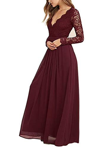 Mathena Women's Long Sleeve Open Back Lace Bridesmaid Dresses Prom Evening Gowns Burgundy US8 (Lace Wedding Dress With Sleeves And Open Back)