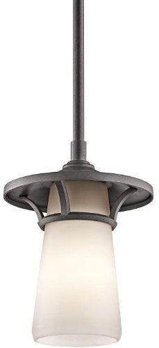 Iron Finish Outdoor Pendants (Kichler Lighting 49372AVI Lura 1-Light Outdoor Hanging Pendant, Anvil Iron Finish with Satin Etched Cased Opal)