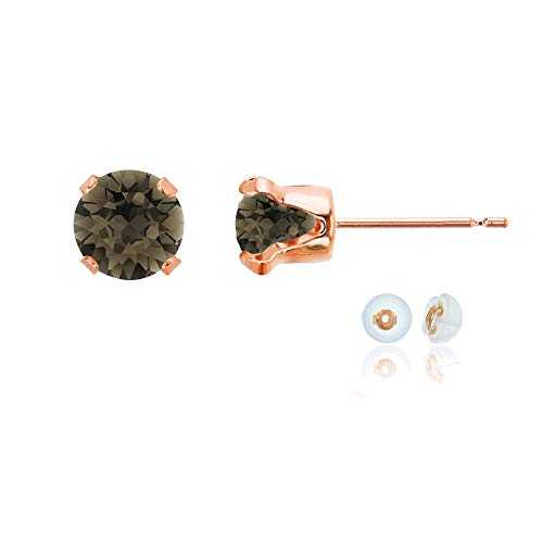 Genuine 14K Solid Rose Gold 6mm Round Natural Smokey Quartz Birthstone Stud Earrings ()