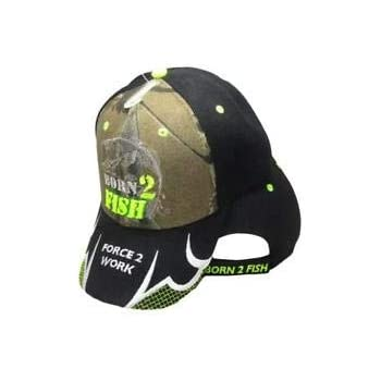 Born to Fish Forced to Work Neon Green Camouflage Embroidered Cap CAP926A Hat