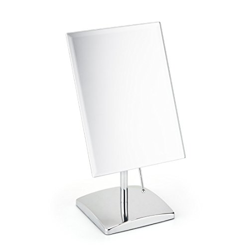Non-magnifying Vanity Makeup Mirror Adjustable Rectangular Tabletop Mirror Portable Polished Chrome Finished for Bedroom Bathroom Traveling Glass Surface Perfect Modern Elegant Fashion Design ()