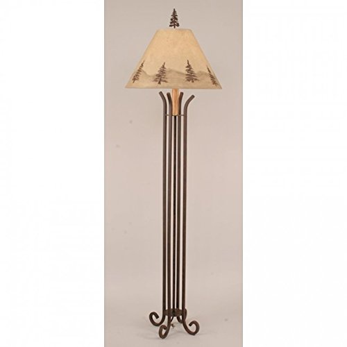 Pine Tree Floor Lamp - Coast Lamp Manufacturer 12-R28A Rust Iron 4 Footed Floor Lamp with Pine Tree Shade - 62 in.