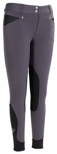 TuffRider Women's Sydney Knee Patch Breeches with Contoured Sock Bottom, Charcoal, - Sydney Couture