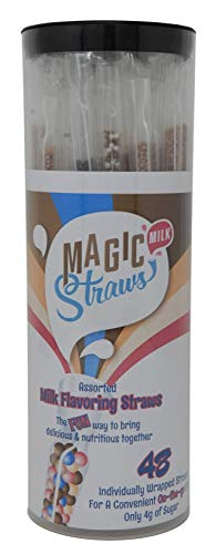 - Magic Milk Straws: Individually Wrapped Assorted Milk Flavoring Straws - 48 Count