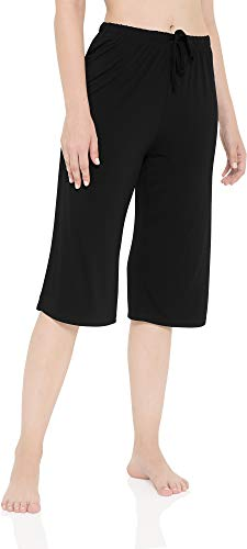 LazyCozy Women's Bamboo Capri Sleep Pants, Black, Medium