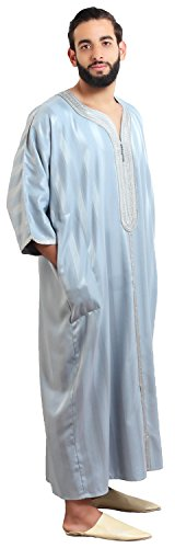 Moroccan Men Caftan Handmade Gandoura Cotton Blend Delicate Embroidery Grey by Moroccan Men Clothing (Image #2)