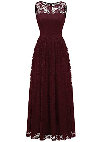 Wedtrend Women's Floral Lace Long Bridesmaid Dress Party Gown WTL10007BurgundyXXL (Long Dress Gown)