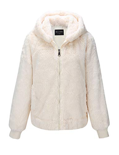 Bellivera Women's Faux Fur Jacket with 2 Side-Seam Pockets, The Jacket with Hood, for Spring and Winter