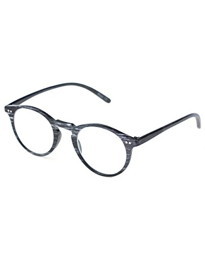 NYFASHION101 Wood Look Horn Rimmed Frame Reading Glasses - BK/GY, - Glasses Horn Rimmed Black Reading