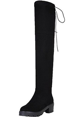 Botas Altas Mujer Otoño Invierno Caliente Bloque Cordones Negro Plataforma Sobre la rodilla botas De BIGTREE Negro