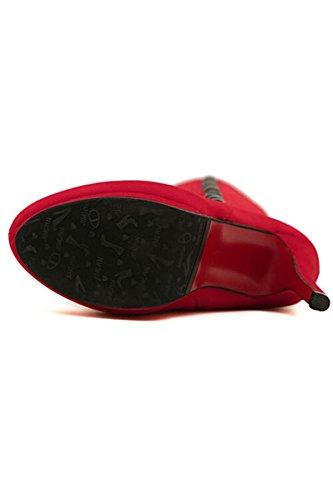 Azbro Mujer Botas Elegante Sólido Estiletes Decoración Botón Tacón Alto Rojo