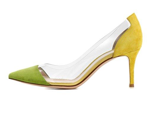 High High 8cm Transparent Court Women Shoes Heel Pumps Cap PVC Shoes Green Toe elashe Heel Party Pq5F8vwnv