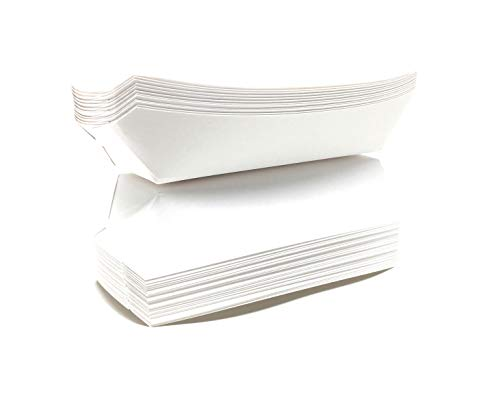 Mr. Miracle 7 Inch Paper Hot Dog Tray in White. Pack of 100. Disposable, Recyclable and Fully Biodegradable. Made in USA