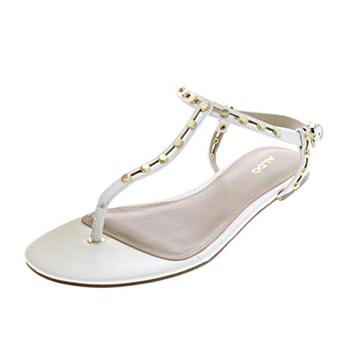 ALDO Women's Starda Flat Sandal, White, 8 B US