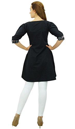 D't 4 Coton Pour Femmes Indienne Noir 3 Ethnique Manches Phagun Kurta Tunique CcSqBwwF