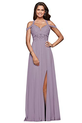 Women's Long Split Off The Shoulder Formal Prom Dress Lace Bodice Party Gowns Wistria Size 12 ()