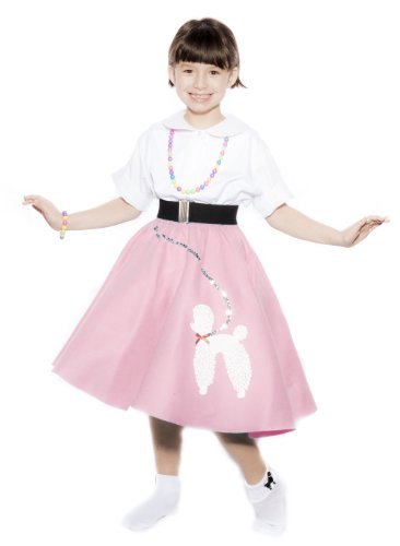 [Hey Viv ! Child Size 50s Pink Felt Poodle Skirt & Crinoline Slip Combo Sock Hop Set] (Poodle Skirt Set)