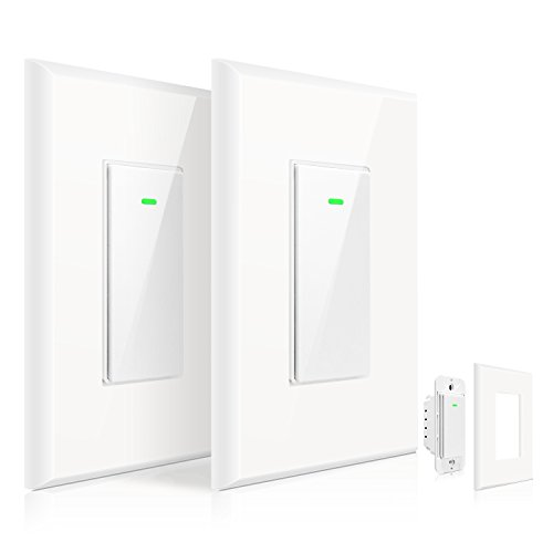 WI-FI Smart Wall light switch?2 pack?,OMOTON Wireless Timing Switch Outlet compatible with Amazon Alexa and Google Assistant, No Hub Required, Netural Wire Required, App Control from Anywhere