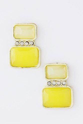 KARMAS CANVAS ACRYLIC JEWEL BLOCK EARRINGS (Yellow)