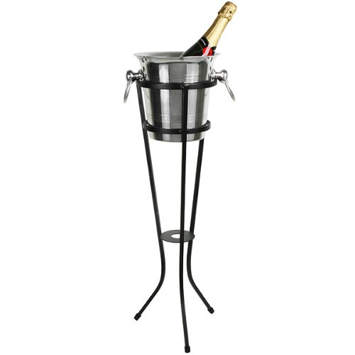 Champagne Bottle Cooler Aluminium Champagne Bucket 4 Litre with Wrought Iron Stand
