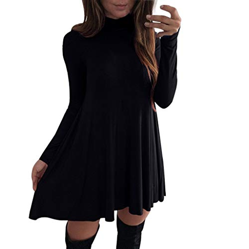 Cardigo Women's Long Sleeve Turtleneck Mini Dresses Underdress Elegant Flared Dress