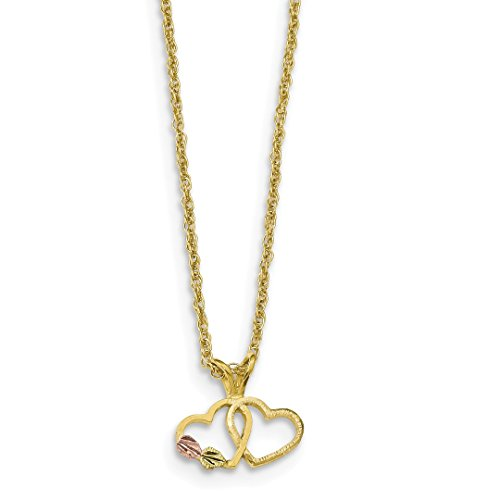 ICE CARATS 10k Tri Color Black Hills Gold Double Heart Chain Necklace Fine Jewelry Gift Set For Women (Heart Tri Color Necklace)