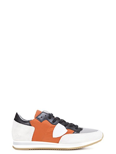 Philippe Model Mens Shoes - Philippe Model Men's Trluw049 Orange/White Leather Sneakers