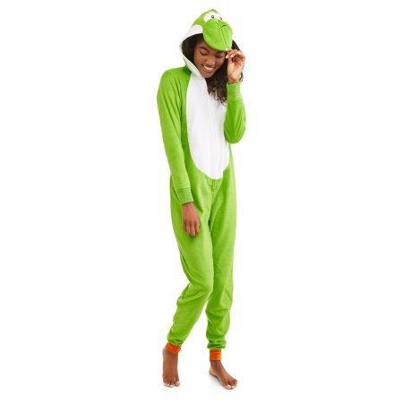 Super Mario Women's Faux Fur Licensed Sleepwear Adult Costume Union Suit Pajama (2XL, (Yoshi And Mario Costume)
