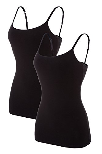 Women's Camisole Built-in Shelf Bra Adjustable Spaghetti Straps Tank Top Pack, 2 Pk Black / Black, XX-Large,2 Pk Black / Black,XX-Large ()