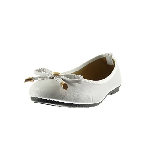 Angkorly - damen Schuhe Ballerina - Slip-On - Knoten - metallisch flache Ferse 1 CM - Weiß