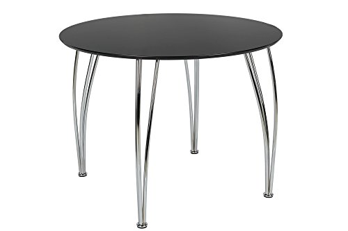 Novogratz Round Dining Table with Chrome Plated Legs, Black Birch Dining Room Pedestal