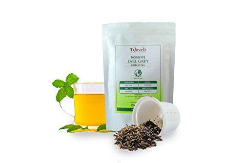 Premium Earl Grey Jasmine Loose Leaf Darjeeling Green Tea-Detoxify with a Unique Blend of Bergamot Extracts from Italy Green Tea and Fragrant Jasmine flowers for the Best Weight Loss Experience-3.53oz
