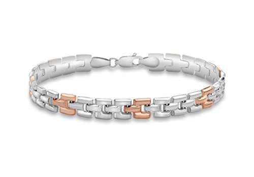 """9ct or 2couleurs Brique Lien Bracelet 19cm/7,5"""""""