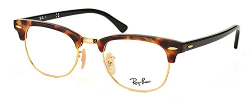 Ray-Ban RX5154 Clubmaster Eyeglasses 100% Authentic (51 mm, Havana With Gold - Clubmaster Ban 5154 Ray