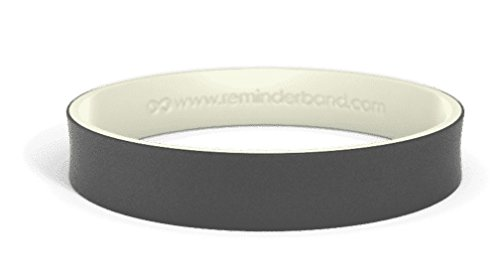 Reminderband Dual Layer Wristbands (Black/Glow-in-The-Dark, Large) ()