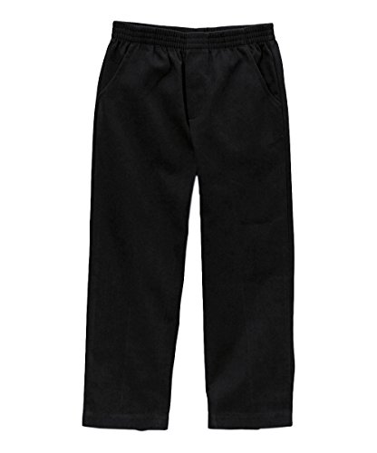 unik Boy's Uniform All Elastic Waist Pull-on Pants BU03 (8, Black) ()