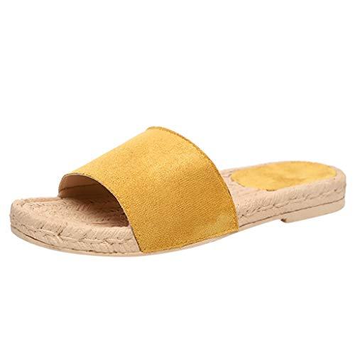 - Dressin Open Toes Sandals Women Summer Slippers Hemp Rope Flats Beach Slippers Vintage Ultra Comfortable Sandals Yellow