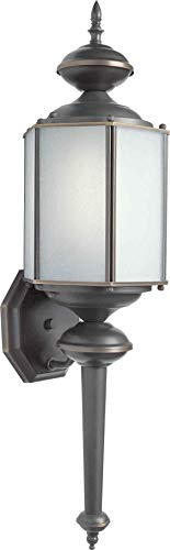 Forte Lighting 10021-01-14 Traditional 1-Light Energy Efficient Exterior Wall Lantern with Frosted Seeded Glass, Royal Bronze Finish 1lt Fluorescent Wall Sconce