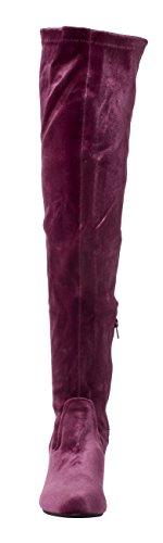 High Mauve Thigh Over Velvet Knee Albert Chunky Boots Heel The Womens Charles t6fnwOq4
