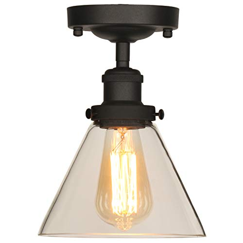 Light 1 Semi Mount Flush (XIDING Industrial Vintage Classic Semi Flush Mount Ceiling Light Fixtures, Farmhouse Lighting Clear Glass Pendant Lighting Shade, Edison Style Metal & Glass Hanging Lights 1-Light)