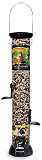 product image for Droll Yankees Onyx Clever Clean and Fill Mixed Seed Bird Feeder, 18 Inches, 4 Ports, Black (Four Pack)