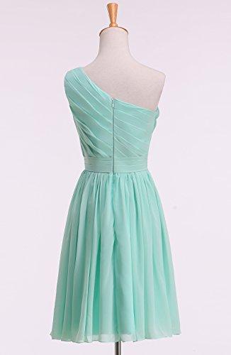 Abendkleid Tochter Kekehouse® Mutter Plissiertes Ein-schulter Brautjungkleid Blumenmädchenkleid Koralle Knielang Kleid