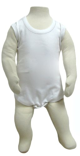 2T 3T 4T Cotton Sleeveless Bodysuit , White, 12-18 Months