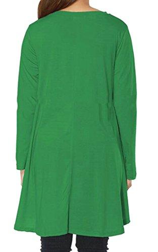 Cruiize Femmes Flare Tunique Ourlet Couleur Pure V-cou T-shirt Robes Courtes Vert